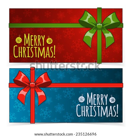 Christmas banners.  Presents and decorations on holiday backdrop. Bright design elements. Eps 10 vector illustration. - stock vector