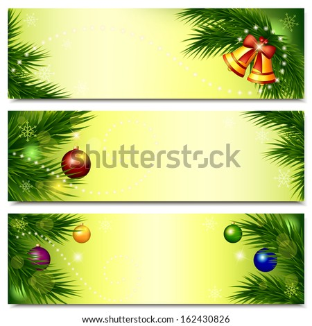 Christmas banners. Set of horizontal backgrounds with branches of spruce, balls and bells on light yellow background. Vector illustration.  - stock vector