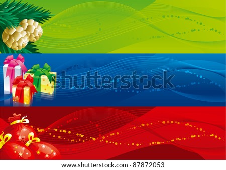 Christmas banners -1. Vector set of christmas banners with gift boxes, bags and fir cones and branches