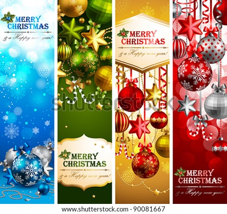 Christmas banners with baubles and place for text. Vector illustration. - stock vector