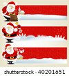 Christmas banners with friendly Santa Claus - stock vector