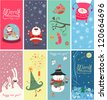 Christmas banners with funny characters - stock photo