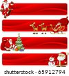 Christmas banners with Santa-Claus - stock vector