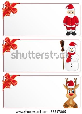 christmas banners with Santa-Claus, snowman and reindeer - stock vector