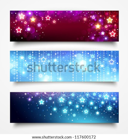 Christmas banners with stars - stock vector