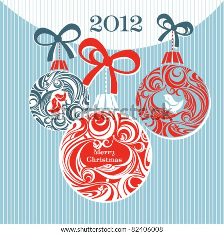 Christmas bauble card - stock vector