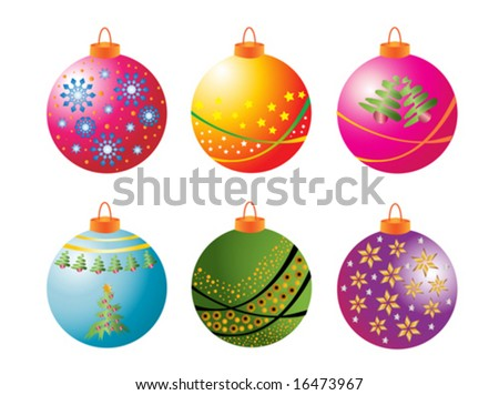 Christmas Bauble Collection isolated on white background