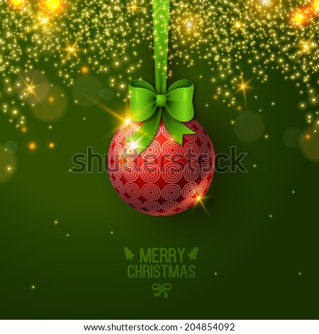Christmas bauble on green background. Vector illustration. Christmas ball with bow. Sparkles. Place for your text message. Fashionable New year backdrop. - stock vector