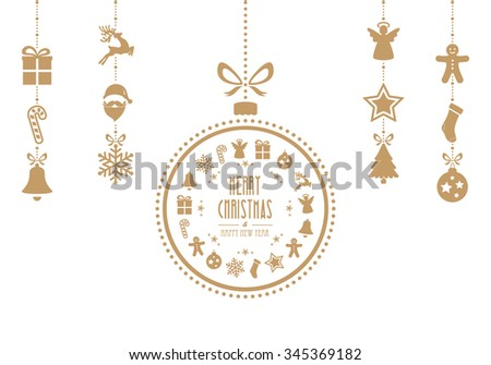 christmas bauble ornaments gold isolated background - stock vector