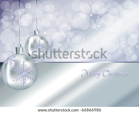 Christmas baubles background, silver
