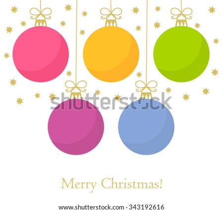 Christmas baubles background. Vector illustration - stock vector