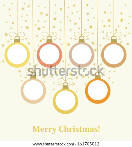 Christmas baubles hanging. Vector illustration background - stock vector