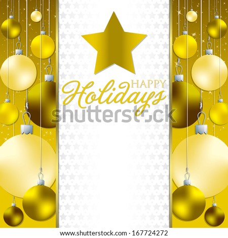 Christmas baubles invitation card in vector format. - stock vector