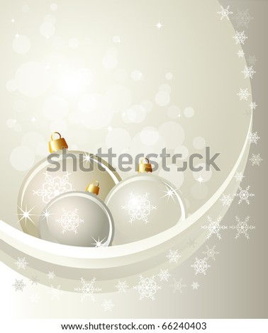 Christmas baubles on abstract background with snowflakes. Space for your text. EPS10 vector format. - stock vector