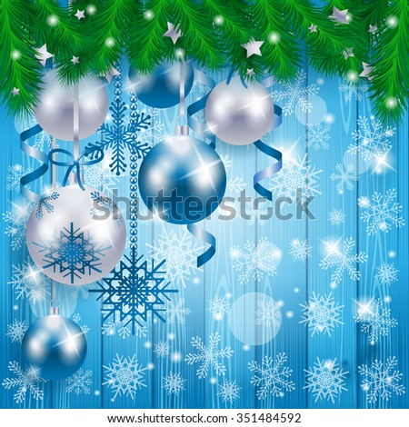 Christmas baubles on wooden background, in blue. Vector illustration