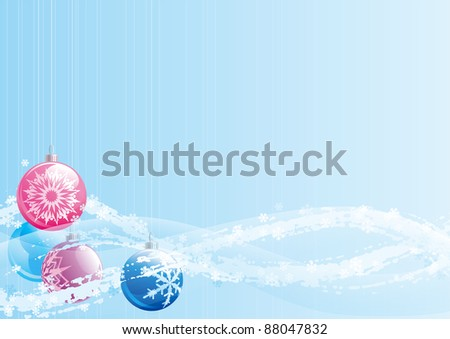 Christmas baubles. Vector christmas card of christmas baubles on abstract background with copy space for text.