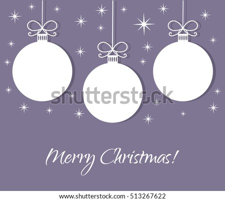 Christmas baubles white tags on purple background. Vector illustration greeting card