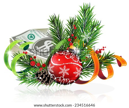 Christmas baubles with money and fir tree branches on white background - stock vector