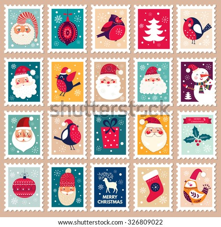 Christmas beautiful cheerful cute stamp with holiday symbols and elements of decoration. - stock vector