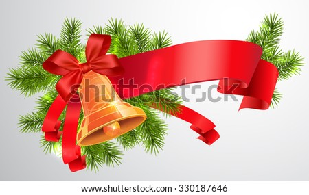 Christmas Bell with Red Ribbon. Vector Illustration - stock vector