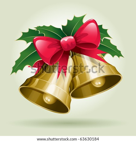 Christmas Bells vector illustration. All elements are layered separately in vector file. - stock vector