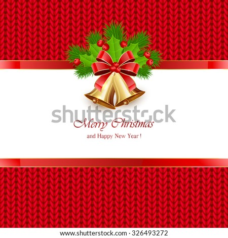 Christmas bells with bow and holly berries on red knitted pattern, illustration. - stock vector