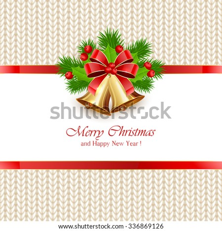 Christmas bells with bow and holly berries on white knitted pattern, illustration. - stock vector