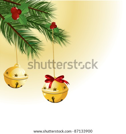 Christmas bells with red ribbon - stock vector