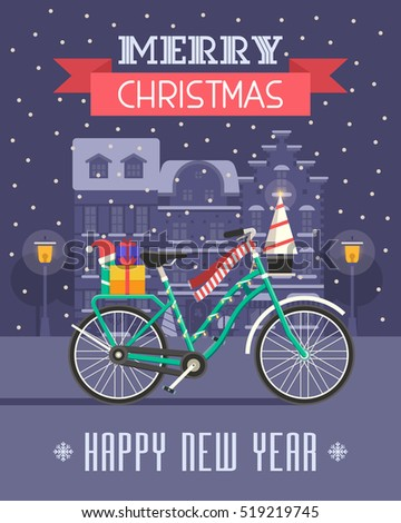 Christmas bicycle wishing card traditional celebrating stock vector 519219745 shutterstock - Happy new year sound europe ...