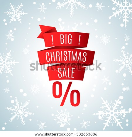Christmas big sale. Red Ribbon on the background of snowflakes. Poster template. Winter background. Vector illustration. - stock vector