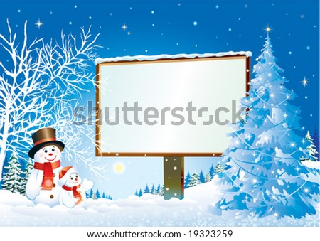 christmas billboard with snowman - stock vector