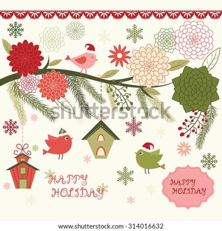 Christmas Bird Floral,Bird House,Floral Frames,Bird,Christmas invitation. - stock vector
