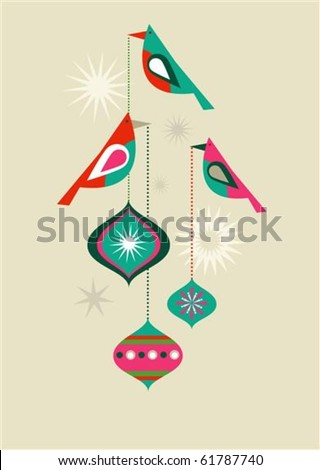 Christmas birds with decorative balls - stock vector