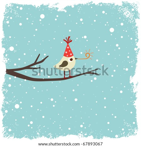 Christmas, Birthday or New Year postcard with bird - stock vector