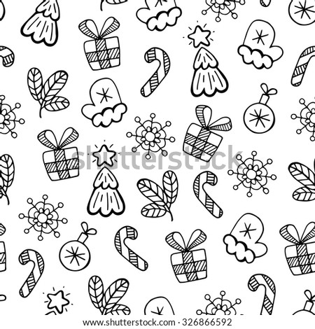 Christmas black and white sketch, vector seamless pattern. Christmas background. - stock vector