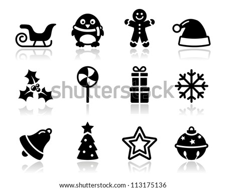 Christmas black icons with shadow set - stock vector