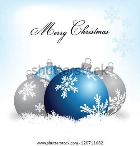 Christmas blue and silver balls, vector set. Greeting card