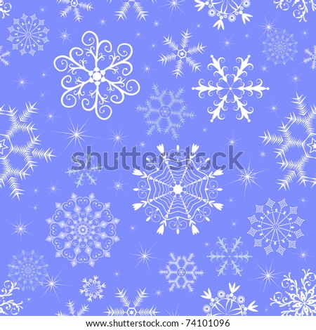 Christmas blue and white seamless pattern (vector) - stock vector