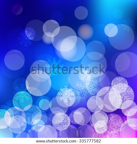 Christmas blue Background bokeh effect with defocused lights and snowflakes. Vector design EPS10 - stock vector