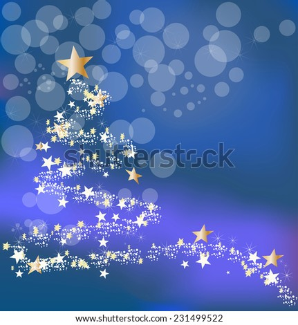 Christmas blue background with abstract new year's tree and stars - stock vector