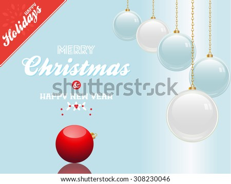 Christmas Blue Background with Baubles Sample Text and Red Corner - stock vector