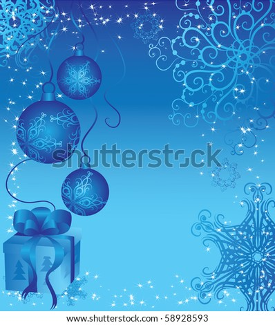 christmas blue background with gift and snowflakes - stock vector