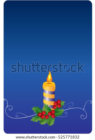 Christmas blue card with holly and candle