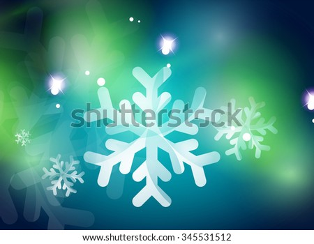 Christmas blue color abstract background with white transparent snowflakes. Holiday winter template, New Year layout - stock vector