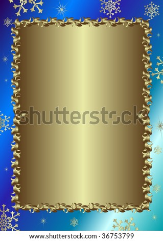Christmas blue  frame with silvery vintage ornament  (vector) - stock vector
