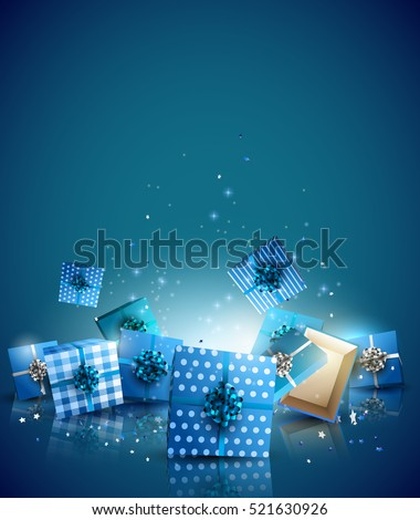 Christmas blue gift boxes on blue background - Luxury Christmas background with place for your message