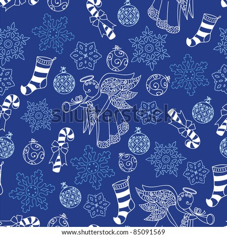 Christmas blue seamless pattern with angel, snowflakes and other - stock vector