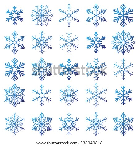 Christmas blue snowflakes on the white background. Eps 10 vector file. - stock vector