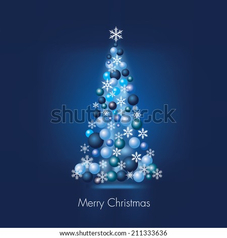 Christmas blue tree. Glass balls and snowflakes. Vector illustration