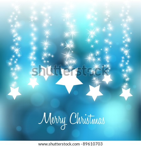 Christmas Blurry Background with Falling Stars - stock vector